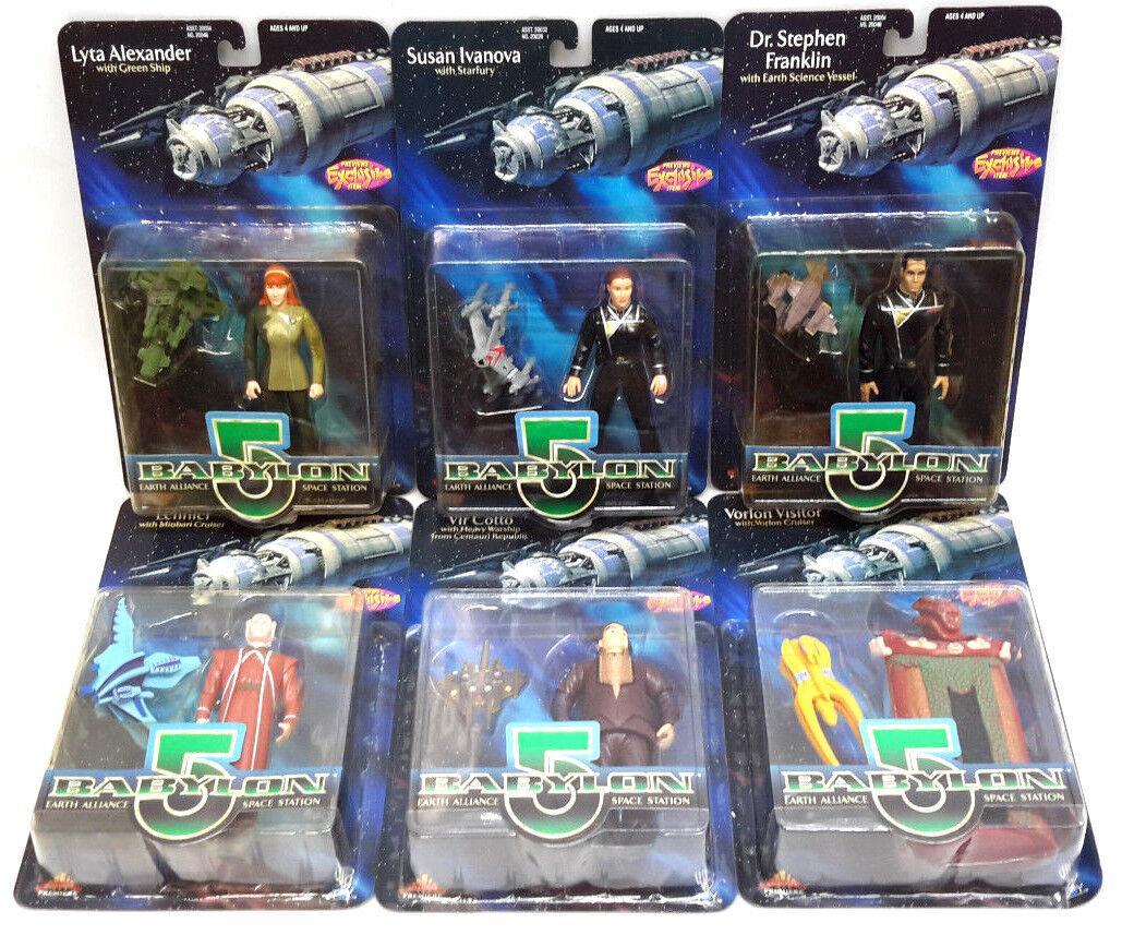 Babylon 5 Action Figure Starter Set of 6 Different-Vintage Lot- Carded