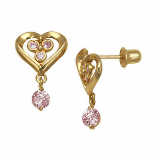 2b13c5e6a Pink Sapphire Bezel Heart Drop Dangle Stud Earrings Screw Back 14K ...