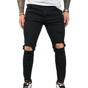 Pantalones De Vaqueros Con Agujeros Para Hombres Color Negro O Azul Moda Casual Ebay