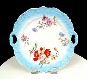 GERMAN-PORCELAIN-SCROLL-AND-SHELL-EMBOSSED-FLORAL-9-3-4-034-CAKE-PLATE-1850-1899