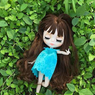 Blythe Doll From Factory Nude 1//6 Scale Joint Body Natural skin Blue Wig Toy