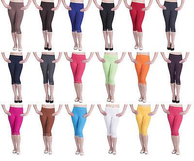 Liberale Da Donna 3/4 Leggings Morbido Cotone Active Wear Pantaloni Corti Casual Taglia 8-26-