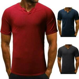 Men-039-s-blouse-t-shirt-slim-fit-tops-muscle-tee-short-sleeve-casual-t-shirts-solid