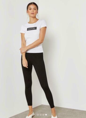 Femmes Mango Box Logo Imprimé T-Shirt Femme Blanc Casual Tee Coton Uni Top