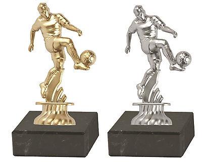 1 Fußballspieler Metall Trophäe 13 x 8 cm auf Marmorsockel zum SONDERPREIS