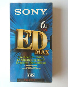 New Sony ED MAX T-120 6 Hour Blank VHS Video Cassette Tape Open Box
