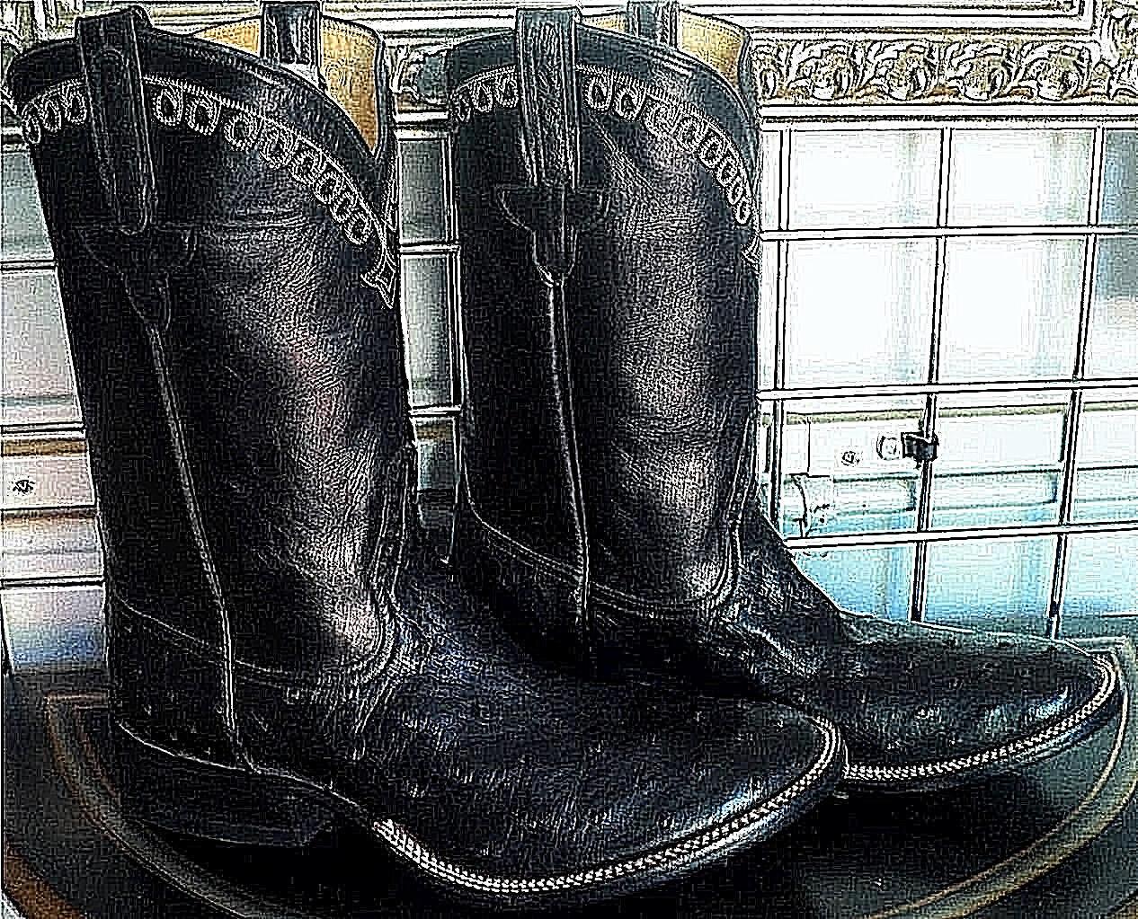 Rios de Mercedes Negro Completo Quill Avestruz Suela Piel botas Vaquero Hombre