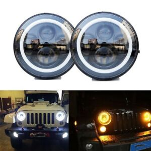NEW-7-034-Round-LED-DRL-style-kit-car-Headlight-Headlamp-for-LAND-ROVER-DEFENDER