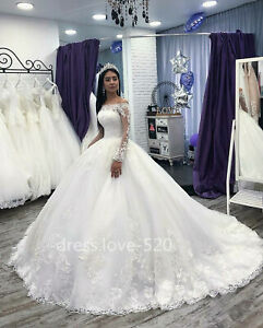 Details about White Ivory Lace Wedding Dresses Long Sleeves Bridal Ball  Gowns Plus Size Custom