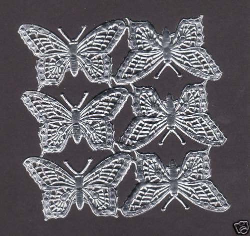 BUTTERFLY SILVER FOIL PAPER ART EMBOSSED SCRAP DRESDEN