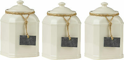 Storage Jars Tea Coffee Sugar Canisters With Slate Tag Cream Color Dolomite New