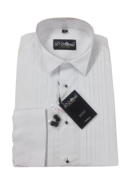 White Cotton Rich Pleated Stud Front Wing Collar Dress Shirt 14.5 -23 BNWT