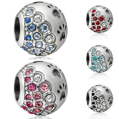 925 Sterling Silver Paw Silver Charm With CZ Bead Fit European Charm Bracelet