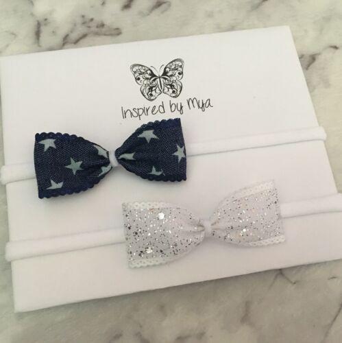 2x Headband Baby Girl Toddler Newborn Small Bow Nylon Hair Band Accessory Denim