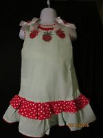 Girls Smocked Christmas Ornaments Gr/wt Stripe Red/ White Accents Lil Cactus