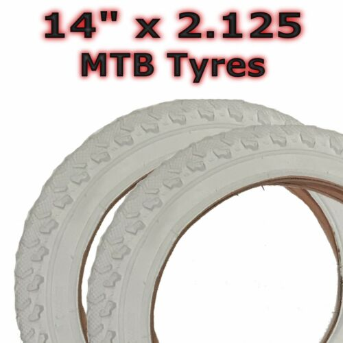 "MTB Childrens Girls Kids Bicycle Tyre 2x White 14/"" x 2.125 57-254"