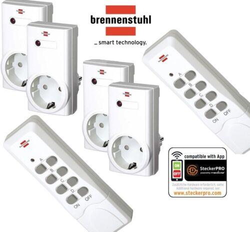 Brennenstuhl RCS1000N 4er Funksteckdosen Set mit 2x Fernbedienung Dip Schalter