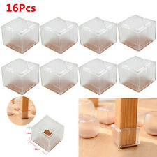 16 X Square Silicone Chair Leg Caps Feet Pads Table Covers Wood Floor Protectors
