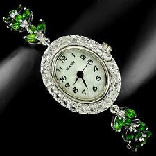 Sterling Silver 925 Genuine Natural Rich Green Chrome Diopside Watch 7 Inch