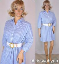 VTG 80s Mini Lady Carol Blue White Stripe Shirtwaist Full Skt Indie Dolly Dress
