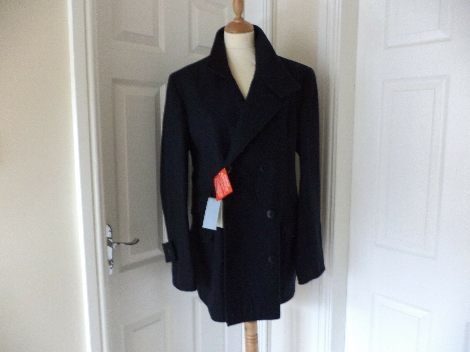 PETER WERTH WOOL REEFER COAT | NAVY | SIZE M | TW0-WAY COLLAR |   BNWT