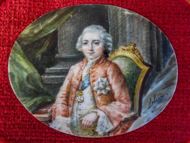 Antique Signed Lebrun Original Miniature Oil Portrait Painting French 1770s