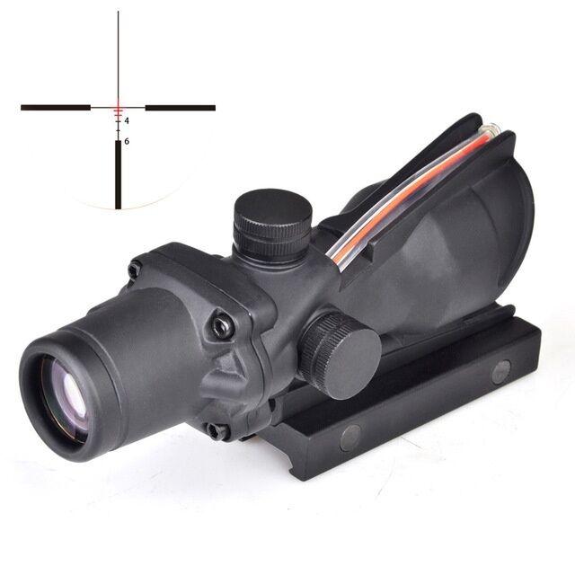 Fuente de fibra 4X32 Rojo Iluminado alcance alcances de Color Negro Caza Táctica