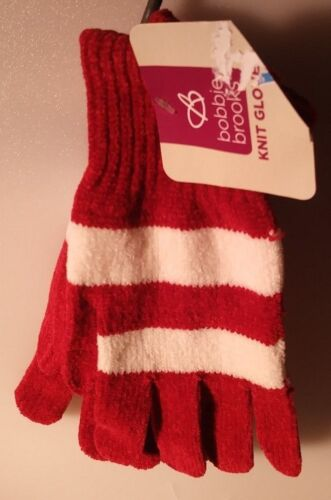 BOBBIE BROOKS 1 PAIR LADIES KNIT GLOVES RED WITH WHITE STRIPE ONE SIZE A-4
