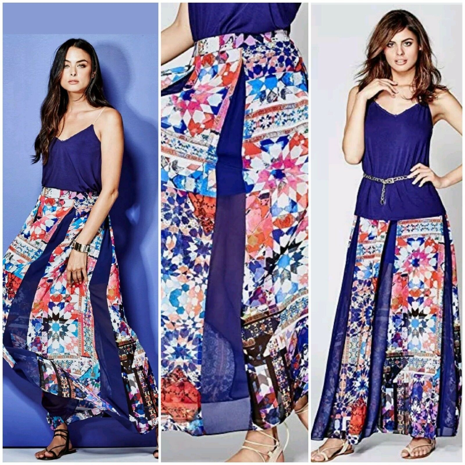 NWT GUESS BY MARCIANO  KALEIDOSCOPE  MAXI SKIRT SIZE S