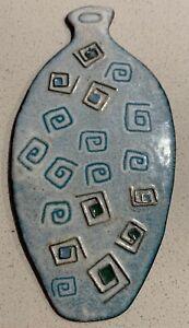 Vintage-60s-Blue-Enamel-Metal-Bottle-Jug-Urn-Object-Mid-Century-Modern-Deyoe