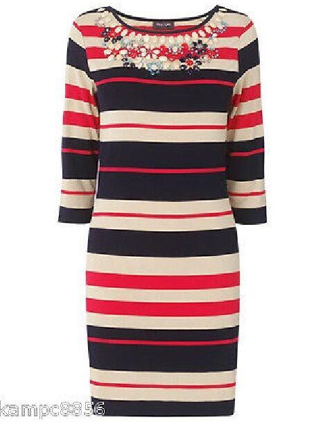 New Phase Eight Navy rot & Beige Inga Stripe Tunic Dress Sz UK 10