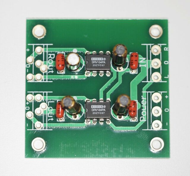 Unbalanced to balanced stereo assembled board ultra low distortion DRV134PAx2 !