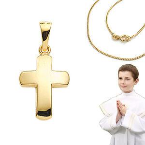 Details Zu Kinder Taufe Kommunion Firmung Kreuz Anhänger Echt Gold 585 Mit Silber Kette Vg