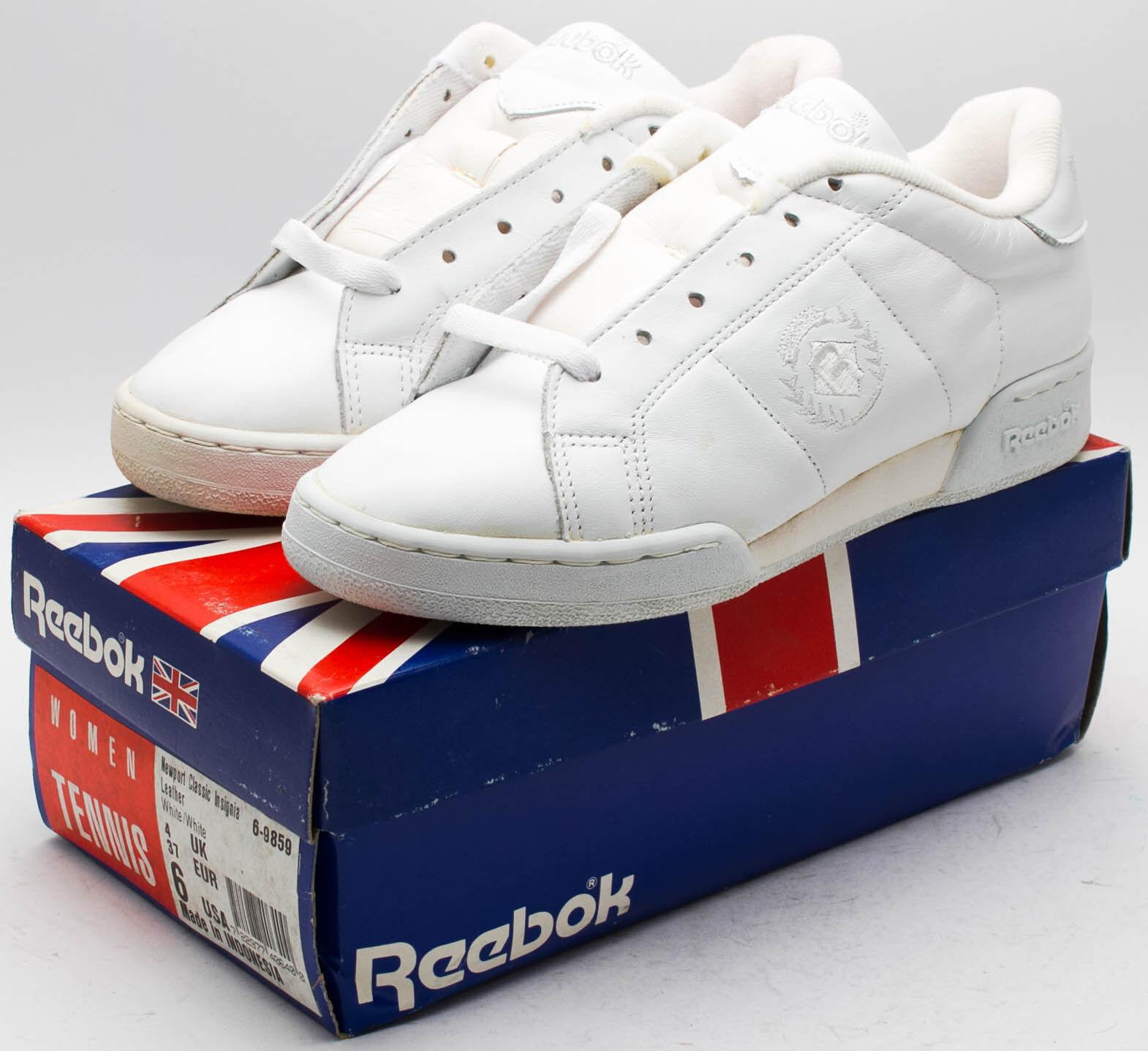 Reebok Women's Vintage 1991 Newport Classic Insignia Leather 6-9859 White sz. 6