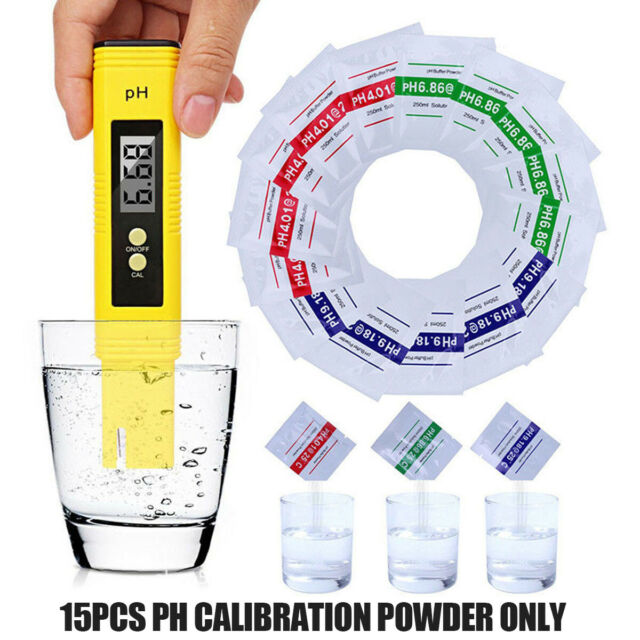 15pcs pH Buffer Solution Powder for PH Test Meter Accurate Precise and Easy Calibration 4.01 6.86 9.19