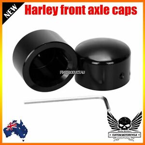 Black Front Axle Nut Cover Bolt Kit For Harley Softail Dyna Sportster Road King