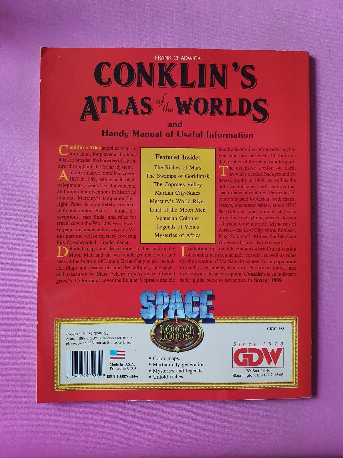CONKLINS ATLAS ATLAS ATLAS OF THE WORLDS - SPACE 1889 - RPG TABLETOP GDW ROLEPLAYING RARE fb4884