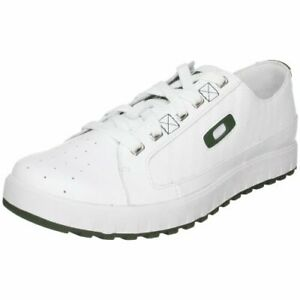 oakley two barrel white leather sport casual tennis shoes