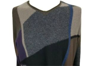 Luca-DiMarco-100-Cashmere-Mens-Large-V-Neck-Sweater-Long-Sleeves-Pullover