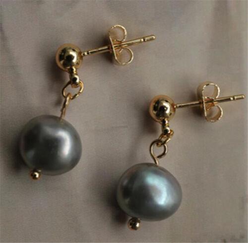 Nouveau Torus Rose 9-10 mm énorme baroque gris perle boucles d/'oreilles 18K fascinant Dangler