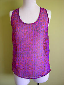 Ladies-Womens-Purple-Chiffon-and-Lace-Loose-Cami-Tank-Top-Hot-Options-Size-8