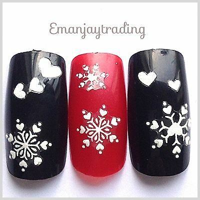 Nail Art 3D  Decals/Stickers Christmas Snowflakes & Hearts #171