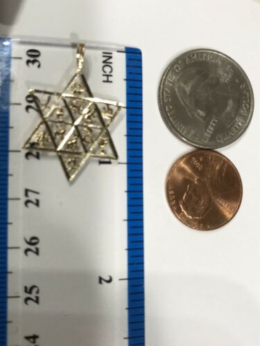 "GOLD 14k  Star David Pendant 12 Tribes of Israel charm yellow 1.15/"" 1.1g"