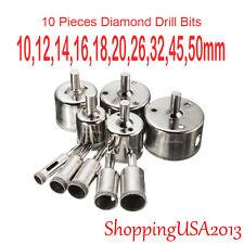 10 pcs 10-50mm Diamond drill bit set hole saw cutter tool marble glass cermaic@@