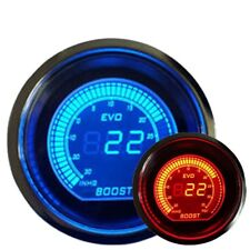 "2"" 52mm TURBO BOOST VACUUM CAR DIGITAL LED METER GAUGE TINT LENS BLUE RED #7060"