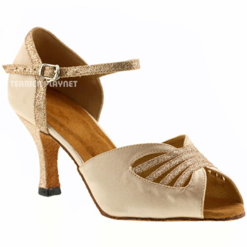 TPS Flesh Satin /& Gold Glitter Latin Ballroom Salsa Custom-made Dance Shoes D478