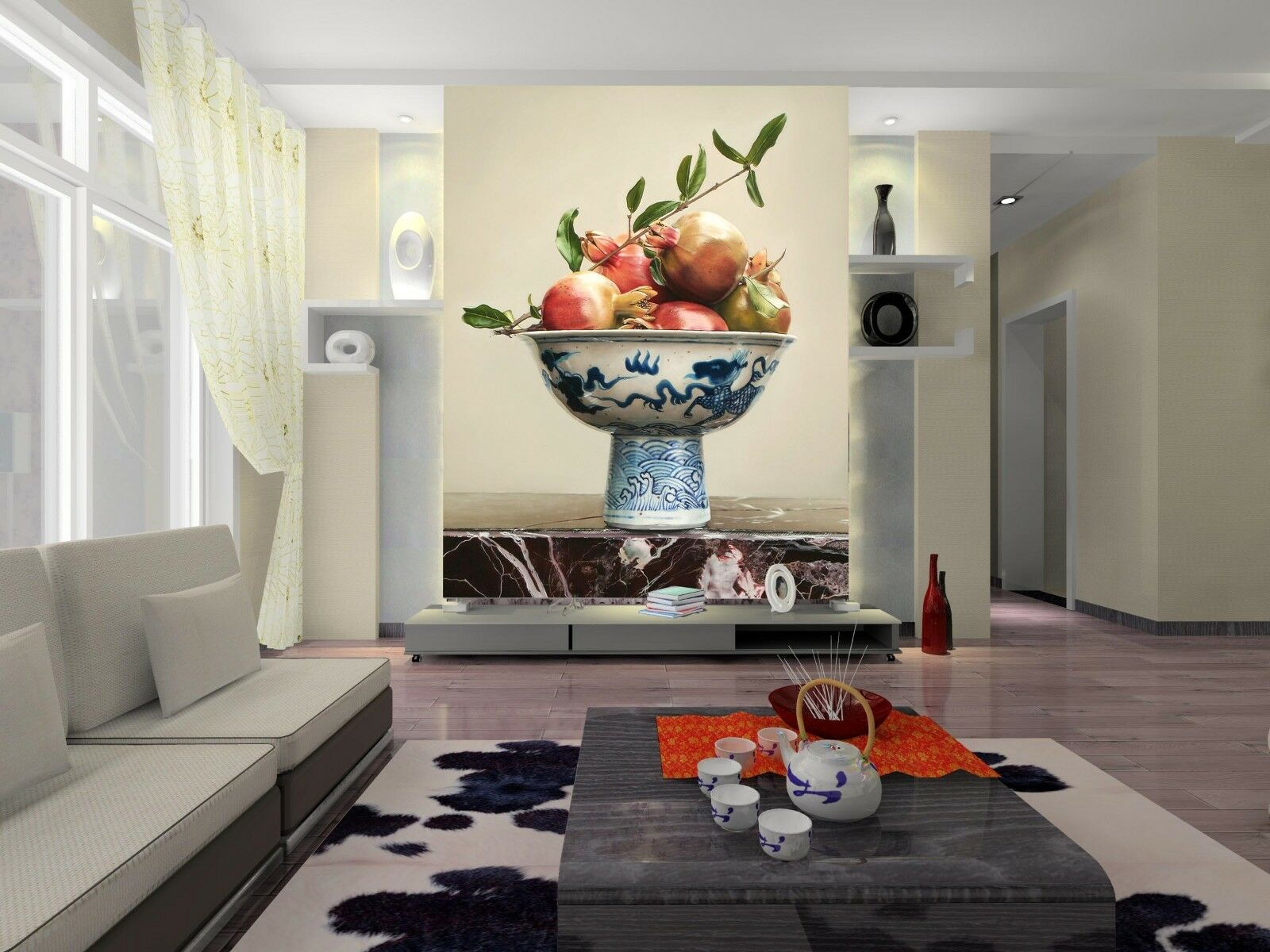 3D Pomegranate Fruit Dish Wall Paper Wall Print Decal Wall AJ WALLPAPER CA