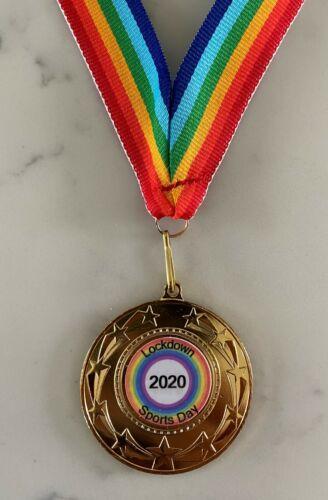 Personalied Sports Day Lockdown Medal 3x Finishies 50mm Woven Rainbow Ribbon