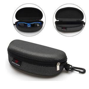 Zipper-Eye-Glasses-Sunglasses-Clam-Shell-Hard-Case-Protector-Box-Portable-Black