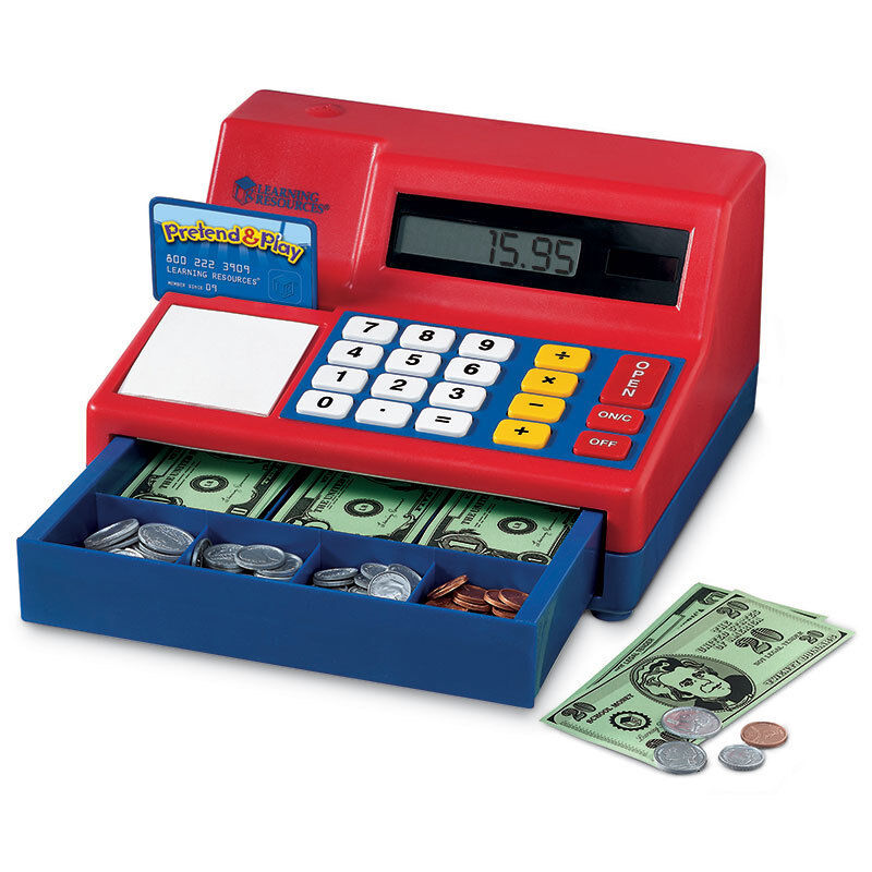 Learning Resources Calculator Cash Register W  Us Currency 2629
